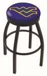 West Virginia University 25'' Black Wrinkle Finish Swivel Backless Counter Height Stool with Accent Ring [L8B2B25WESTVA-FS-HOB]