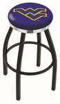 West Virginia University 25'' Black Wrinkle Finish Swivel Backless Counter Height Stool with Chrome Accent Ring [L8B2C25WESTVA-FS-HOB]
