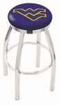 West Virginia University 25'' Chrome Finish Swivel Backless Counter Height Stool with Accent Ring [L8C2C25WESTVA-FS-HOB]