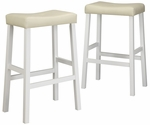 White 29'' H Saddle Stool In Beige Vinyl Cushion-Set Of 2 [5310W-29-3A-2PC-FS-HOM]