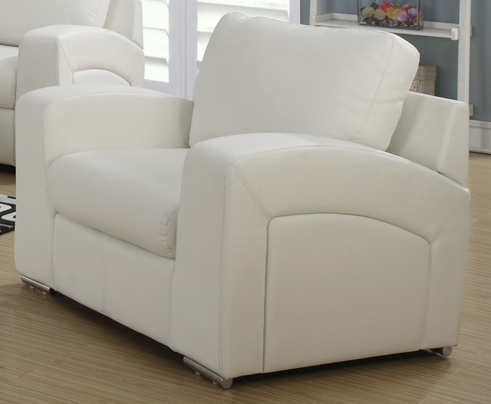 plush bonded leather and match chair with removable back