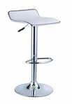 White Faux Leather & Chrome Thin Seat Adjustable Height Bar Stool - Set of 2 [211-847X-FS-PO]