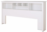 King Size Bookcase Headboard with 6 Open Storage Compartments - White [WSH-8445-FS-PP]