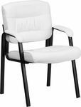 White Leather Executive Side Reception Chair with Black Frame Finish [BT-1404-WH-GG]