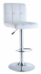 White Quilted Faux Leather & Chrome Adjustable Height Bar Stool [211-851-FS-PO]