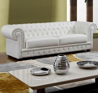 will tufted white italian leather sofa - Italian Leather Sofa