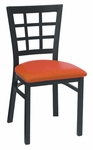Window Back Metal Dining Chair - Grade 5 Vinyl [85-GR5-SAT]