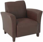 OSP Furniture Eco Leather Breeze Club Chair with Cherry Finish Legs - Wine [SL2271EC6-FS-OS]