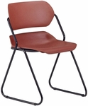 Martisa Armless Plastic Stack Chair - Wine Seat with Black Frame [202-BLK-WINE-MFO]