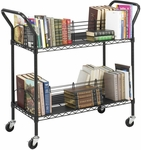 44'' W x 18.75'' D x 40.25'' H Double Sided Wire Book Cart - Black [5333BL-FS-SAF]