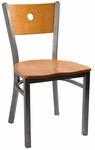 Moon Back Chair with Metal Frame and Veneer Seat and Back in Natural Finish [6149-NAT-HND]