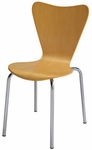 3800 Series Bentwood Stacking Armless Cafe Chair with Chrome Frame - Natural [3888-NA-IFK]