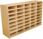 Storage Unit with (40) 3'' Letter Tray Slots - Fully Assembled on Casters - 58''W x 15''D x 38''H [17589-WDD]