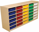 Storage Unit with (30) 3'' Letter Tray Slots and Assorted Trays - Fully Assembled on Casters - 58''W x 15''D x 30''H [17563-WDD]