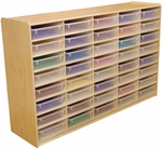 Storage Unit with (40) 3'' Letter Tray Slots and Translucent Trays - Fully Assembled on Casters - 58''W x 15''D x 38''H [17581-WDD]