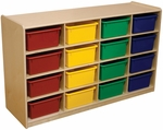 Storage Unit with (16) 5'' Letter Tray Slots and Assorted Trays - Fully Assembled on Casters - 48''W x 15''D x 30''H [18443-WDD]