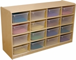 Storage Unit with (16) 5'' Letter Tray Slots and Translucent Trays - Fully Assembled on Casters - 48''W x 15''D x 30''H [18441-WDD]