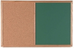 Wood Frame Combination Board with Natural Pebble Grain Cork Bulletin Board and Green Chalkboard - 24''H x 36''W [CO2436G-AA]