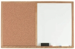 Wood Frame Combination Board with Natural Pebble Grain Cork Bulletin Board and Melamine Marker Board - 24''H x 36''W [WCO2436-AA]