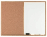 Wood Frame Combination Board with Natural Pebble Grain Cork Bulletin Board and Melamine Marker Board - 36''H x 48''W [WCO3648-AA]