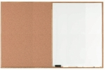 Wood Frame Combination Board with Natural Pebble Grain Cork Bulletin Board and Melamine Marker Board - 48''H x 72''W [WCO4872-AA]