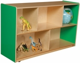 Wooden 5 Compartment Single Mobile Storage Unit - Green Apple - 48''W x 15''D x 30''H