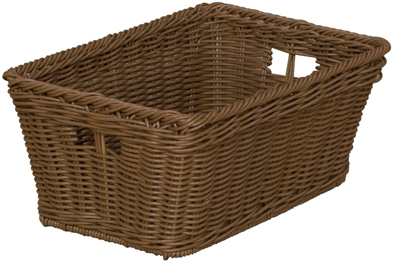 Wooden double sided mobile island with divided shelves and 20 plastic wicker baskets 48 39 39 w x - Divided wicker basket ...