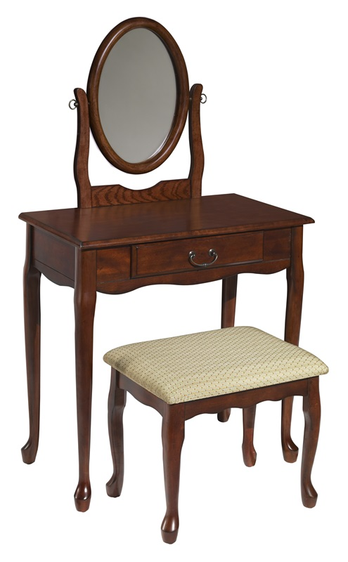 Woodland cherry vanity mirror bench 605 290 by powell for Affordable furniture 290
