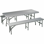 Work Smart Indoor or Outdoor Use 3-Piece Folding Table and Bench Set [QT3965-OS]