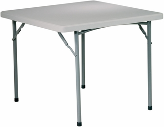 work smart 36'' square resin folding table with powder coated