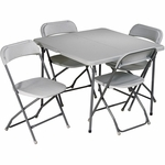 Work Smart 5-Piece Folding Table and Chair Set with Powder Coated Tubular Frame - Grey [PCT-05-OS]