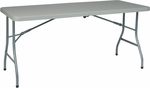 Work Smart 5' Resin Multi-Purpose Folding Table with Powder Coated Frame and Wheels [BT5FQW-OS]