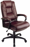 Work Smart Deluxe High Leather Chair with Padded Loop Arms - Burgundy [EX5162-4-FS-OS]