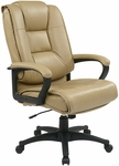 Work Smart Deluxe High Leather Chair with Padded Loop Arms - Tan [EX5162-G11-FS-OS]