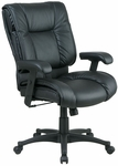 Work Smart Deluxe Mid-Back Executive Leather Chair with Pillow Top Seat and Back [EX9381-FS-OS]