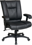 Work Smart Deluxe Mid-Back Executive Leather Chair with Pillow Top Seat and Back - Black [EX9381-3-FS-OS]