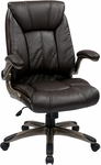 Work Smart Faux Leather Mid Back Managers Chair with Padded Flip Arms - Espresso [FLH24981-U1-FS-OS]