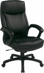 Work Smart Executive High-Back Eco-Leather Office Chair with Seat Adjustment - Black [EC6583-EC3-FS-OS]