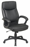 Work Smart Executive High-Back Eco-Leather Chair with Seat Adjustment and Padded Arms [EC6583-FS-OS]