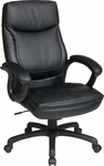 Work Smart Executive High-Back Eco-Leather Office Chair with Contrasting Stitch Pattern - Black [EC6582-EC3-FS-OS]