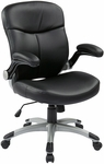 Work Smart Executive Mid Back Eco Leather Chair with Adjustable Padded Flip Arms and Silver Finish Base - Black [ECH37816-EC3-FS-OS]