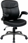 Work Smart Executive Mid Back Eco Leather Chair with Adjustable Padded Flip Arms and Titanium Finish Base - Black [ECH37817-EC3-FS-OS]