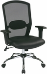 Work Smart Screen Back Office Chair with Leather Seat and Chrome Finish Base- Black [583814-FS-OS]