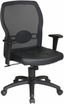 Work Smart Woven Mesh Back Office Chair with Leather Seat - Black [599402-FS-OS]