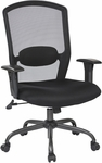 Work Smart Screen Back Office Chair with Mesh Seat and Titanium Finish Base - Black [583713-FS-OS]