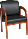 Work Smart Thick Padded Faux Leather Visitors Chair with Lumbar Support - Medium Oak [WD380-U6-FS-OS]