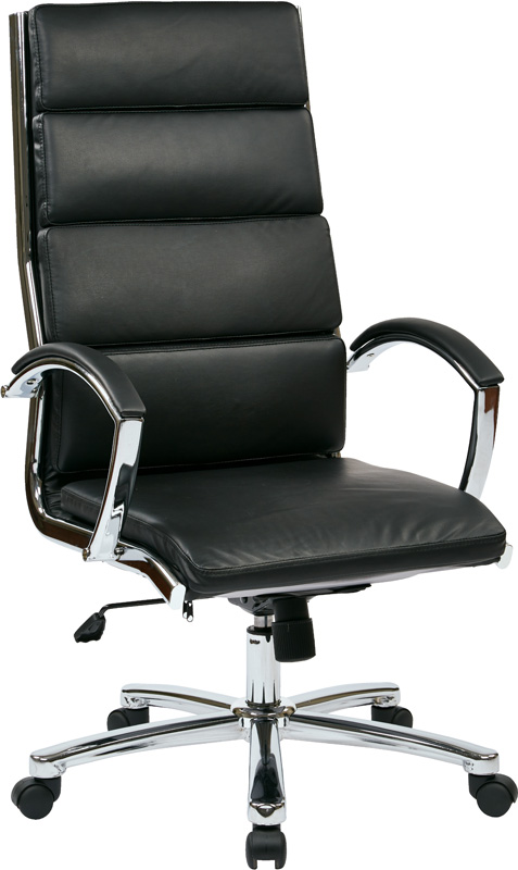 Work Smart High Back Executive Faux Leather Chair with Polished