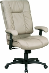 Work Smart High-Back Executive Leather Chair with Pillow Top Seat and Back - Tan [EX9382-1-FS-OS]