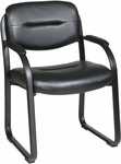 Work Smart Faux Leather Visitors Chair with Padded Arms and Sled Base - Black [FL1055-U6-FS-OS]