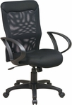Work Smart Mesh Screen Back Chair with Mesh Seat and Loop Arms - Black [53603-FS-OS]